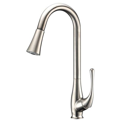 brushed nickel single handle kitchen faucet anzzi singer series single handle pull sprayer