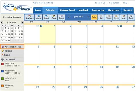 child visitation calendar template parenting plan exles a plan that fits your needs ourfamilywizard