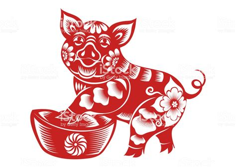 Chinese Zodiac Sign Year Of Pigred Paper Cut Pighappy