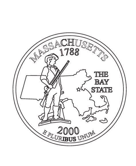 massachusetts state quarter coloring page usa state