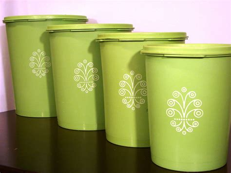 green kitchen canisters sets vintage lime green tupperware canister set of 4