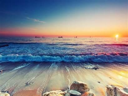 4k Ultra Waves Resolution Wallpapers Beach Sunset