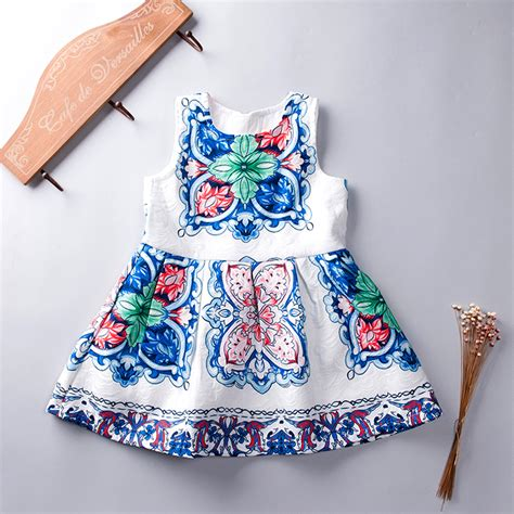 blue and white floor l fashion vintage dress summer 2017 blue and white