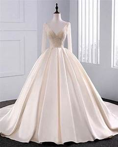 2018 fashion simple beige wedding dresses full sleeve With simple beige wedding dresses