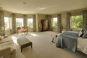 Elegant, Master, Bedroom, With, Views, Of, Landscaped, Gardens