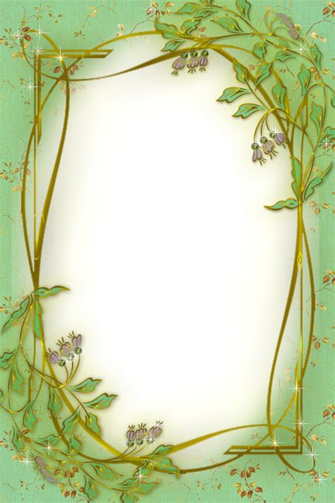 green  gold transparent frame  soft flowers
