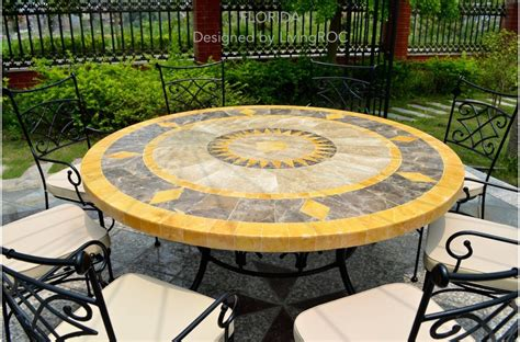 outdoor patio garden  table mosaic marble stone florida