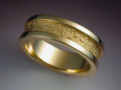 14k Gold Wedding Band With Rock Texture