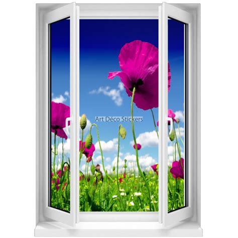 sticker mural fen 234 tre trompe l oeil fleurs 5377 stickers muraux deco