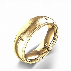 Majestic christian cross wedding ring in 14k yellow gold for Wedding rings cross