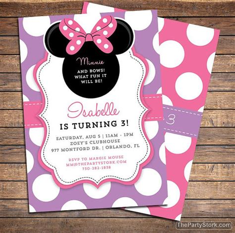 birthday party ideas and tips guest post mimi 39 s birthday invitations for minnie bowtique invitation