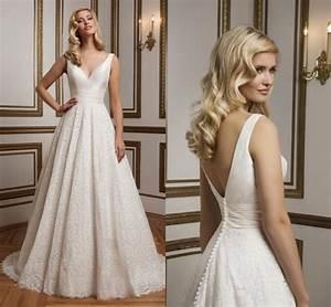 exquisite 2016 lace justin alexander wedding dresses v With satin v neck wedding dress