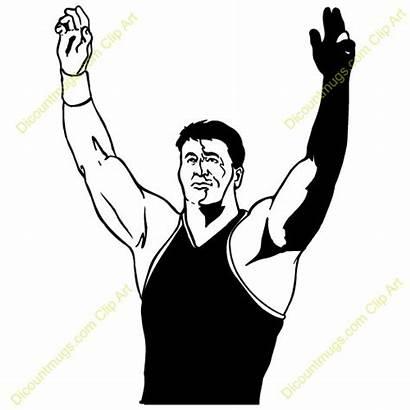 Wrestling Wrestler Clipart Winner Clip Winning Hand