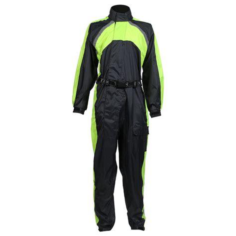 waterproof bike suit texpeed black hi vis elasticated waterproof over suit