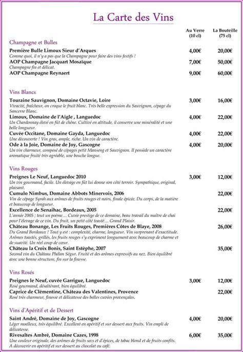 Carte De Des Vins Pdf by La Cuis In La Carte Des Vins