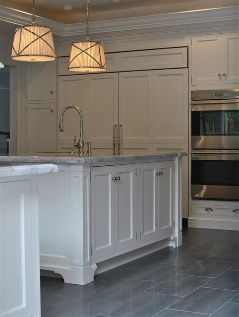 Kitchen Design Ideas For Small Kitchens - kitchen with gray staggered tile floor transitional kitchen