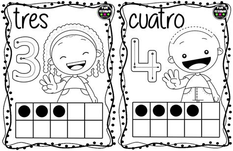 Tarjetas números para colorear (3) Imagenes Educativas