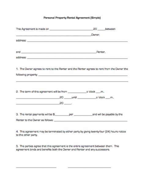 rental agreement template  printable documents