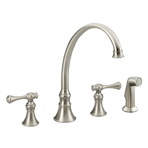 install kohler kitchen faucet shop kohler revival vibrant brushed nickel 2 handle high