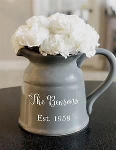 personalized, large, ceramic, milk, jug, pitcher, vase, 90, oz, custom, vase, , rustic, , wedding, gift