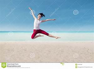 Attractive Dancer Jumping On Beach Stock Image - Image ...