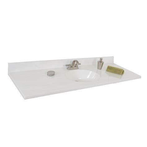 61 vanity top single sink shop style selections oval white on white cultured marble