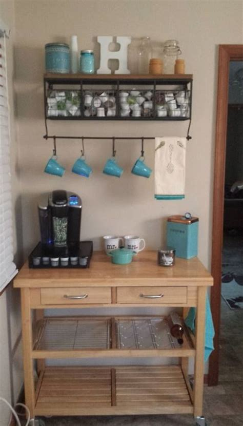 Love this idea of having a coffee bar in the kitchen