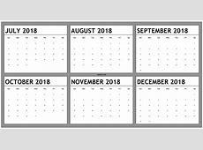 August Through December Calander 2018 2018 Calendar