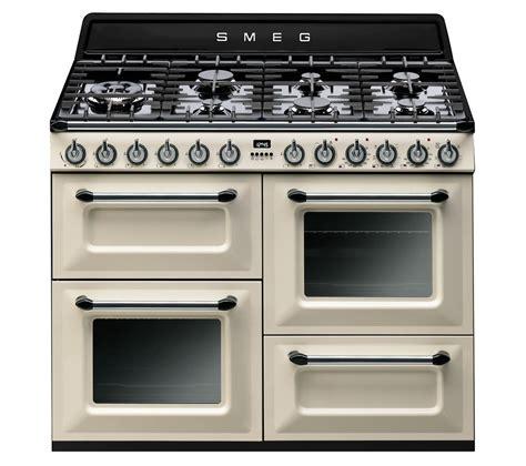 buy smeg trp dual fuel range cooker cream black