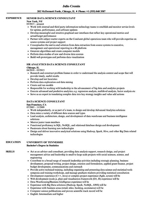 Data Science Consultant Resume Samples | Velvet Jobs