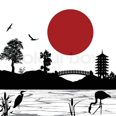 japanese beautiful landscape poster stock vector
