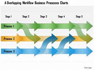 0614 Overlapped Linear Workflow Diagram Powerpoint