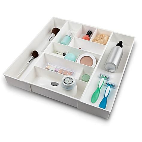 expandable plastic cosmetic drawer organizer  white