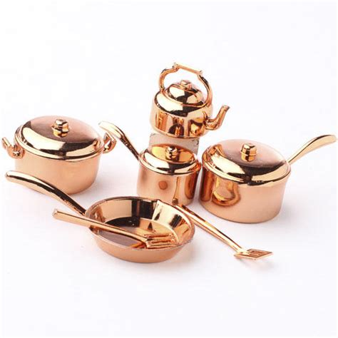 miniature copper pots and pans kitchenware set what s new dollhouse miniatures doll