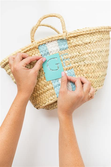 diy hand painted monogram straw bag
