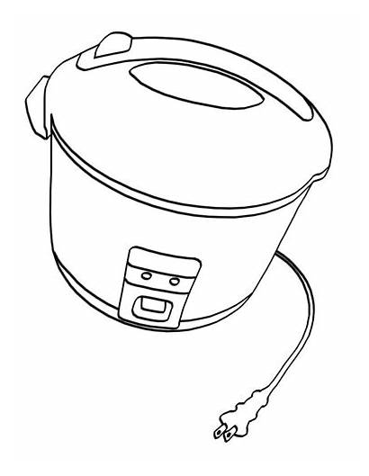 Cooker Rice Coloring Sketch Electric Template