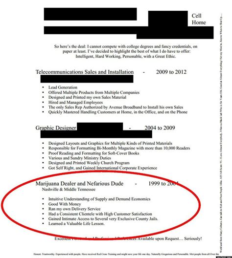 Marijuana Resume Exles by Marijuana Dealer And Nefarious Dude Resume Makes The Rounds Photo
