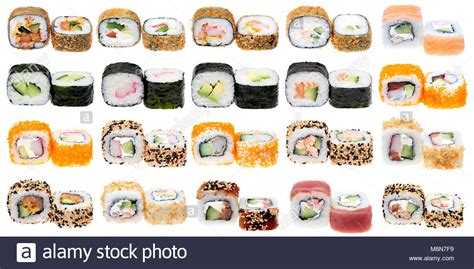 Different Kinds Of Sushi Roll Isolated On White Background