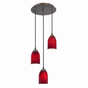 Modern multi light pendant with red glass and