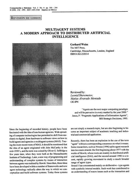 (PDF) Weiss, Gerhard. Multiagent Systems a Modern Approach