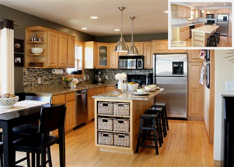 kitchen beige wall themes and brown wooden oak cabinet