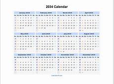 2034 Calendar Blank Printable Calendar Template in PDF
