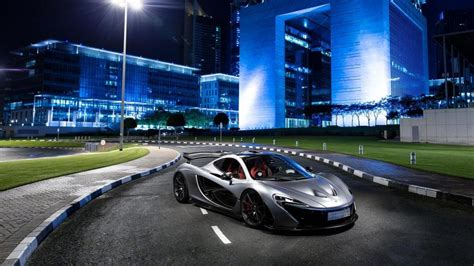 Mclaren P1 Silver Supercar At City Night Wallpaper