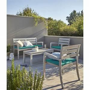 Salon De Jardin Portofino Bois Naturel 1 Table 2