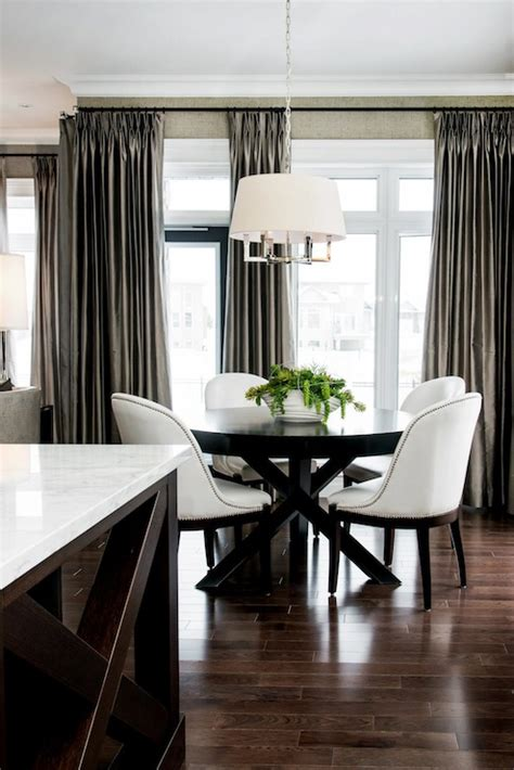 Drapes For Dining Room - taupe silk curtains contemporary dining room