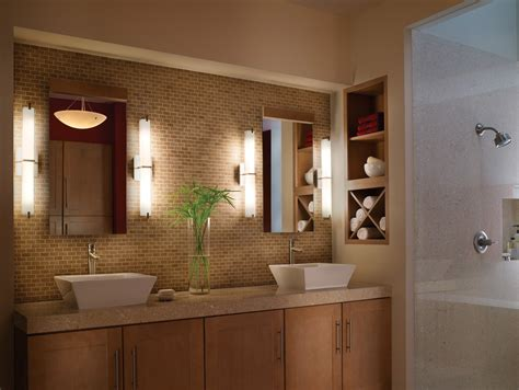 Half Round Vanity Lights Above The Rectangle Mirror