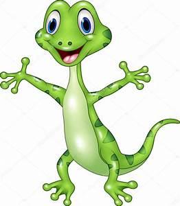 Dibujos animados divertido lagarto verde posando aislada sobre fondo blanco Vector de stock