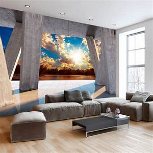 Fototapeten 3d Effekt : vlies fototapete 3d effekt himmel ausblick 3 farben ~ Watch28wear.com Haus und Dekorationen