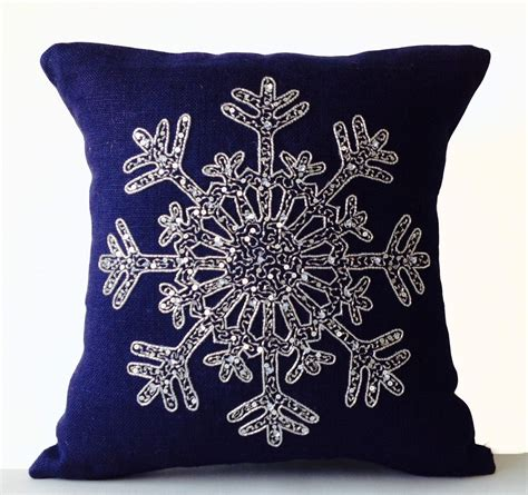 Navy Blue And Silver Throw Pillows by Silver Sequin Pillow Snowflake Navy Blue Pillows Cover