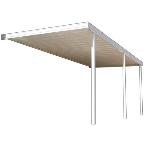 aluminum patio covers home depot four seasons building products 20 ft x 8 ft ivory